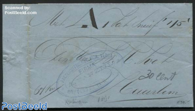 Letter (invoice) from Rotterdam to Haarlem by ship, via Fa. van Zijl, Pakschuitdienst