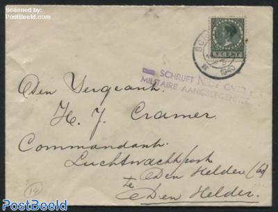 Letter from Schagen to Den Helder with postmark: SCHRIJFT NIET OVER MILITAIRE AANGELEGENHEDEN