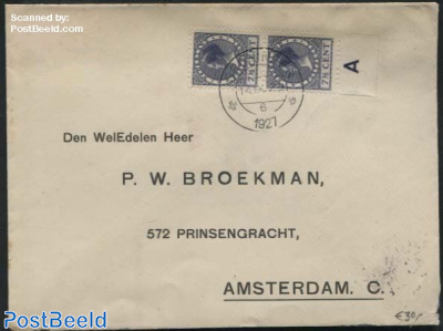 A pair of syncopated perforations nvhp no. R27 on a cover to Amsterdam