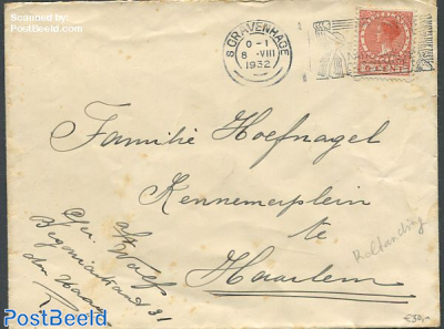 Cover from The Hague to Haarlem with nvph no.R65. Syncopated perforations.