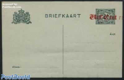 Postcard Vijf Cent on 2.5c, Double overprint
