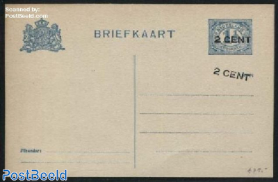Postcard 2 CENT on 1.5c, Double overprint