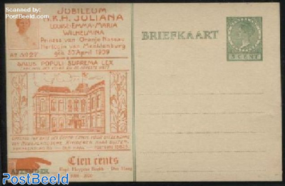 Postcard with private text, Jubileum H.K.H. Juliana