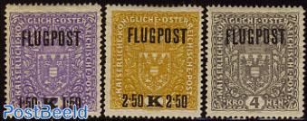 Airmail 3v, White paper (size 26x29mm)