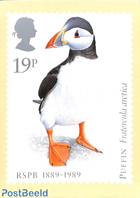 Puffin stamp on card