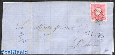 Letter from Silves via Faro to Lisboa, tear all over stamp