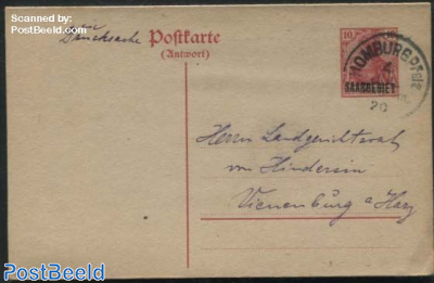 Reply Paid Postcard sent to the Hague (16.3mm overprint)
