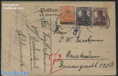 Reply Paid Postcard 15pf, uprated, 17.3mm overprint
