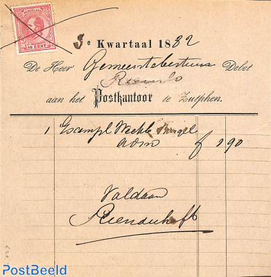 An invoice from Zutphen with nvhp no 21
