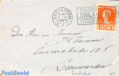 Letter with cancellation BLUE BAND (damaged stamp)