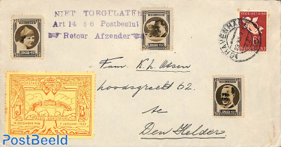 Letter with royal pictures, NOT ALLOWED postmark