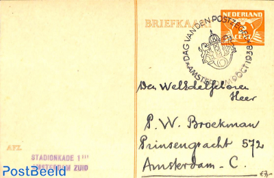 Postcard 2c with Stamp Day Cancellation