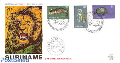 Paramaribo Zoo 3v, FDC without address, Lion