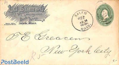 Envelope 2c from SALEM to N.Y., L/.G. Straw & Co. Boots & Shoes