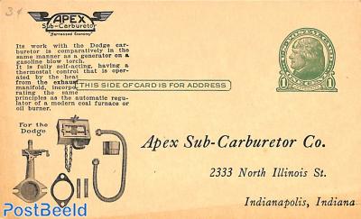 Postcard 1c, APEX Sub-Carburetor