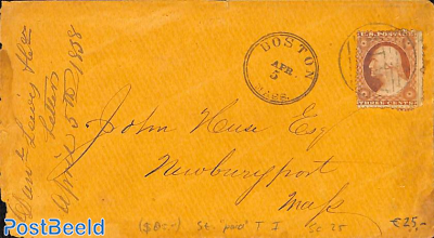 Cover from Boston Mass. to Newburyport Mass. See Boston postmark.