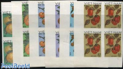 Fruits 6v, imperforated, blocks of 4 [+]