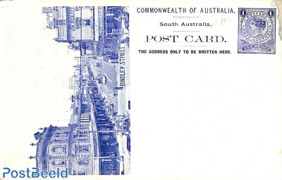 Illustrated postcard 1d, Hindley street  (moisture stain)