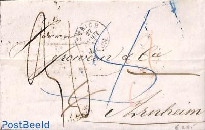 Folding letter from Zürich to Arnhem