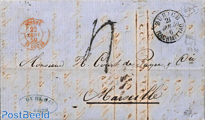 folding letter from Zurich to Marseille