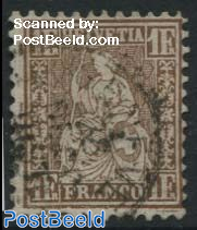 1F, Gold Bronze, Reddish Background, Stamp out of