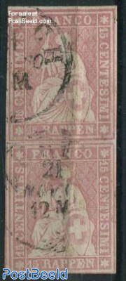 15R pair. Print period 1857/60, used, carmine pink