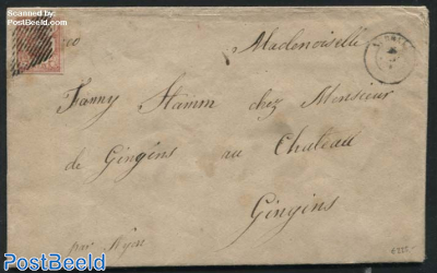 Letter from Aubonne to Gingins with Zumstein Nr. 20, Type 4, with attest Zumstein