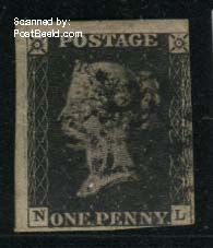1p Black, Lettered NL, Touched at right side