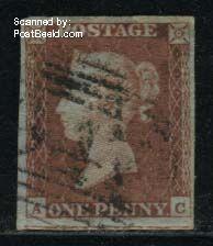 1p Redbrown, Lettered AC, used, nice margins