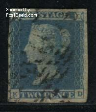 2p Blue, Lettered ED, Hairline in upper right corner, used