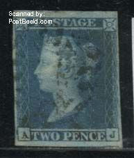 2p Blue, Lettered AJ, used