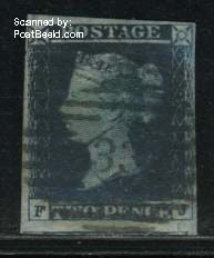 2p, Darkblue, Lettered FJ, small tears in bottom margin, used