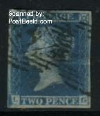 2p, Lettered LG, Thick blue lines in left margin, used
