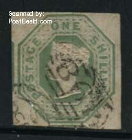 1Sh, used, very wide margins, somewhat light brown spots